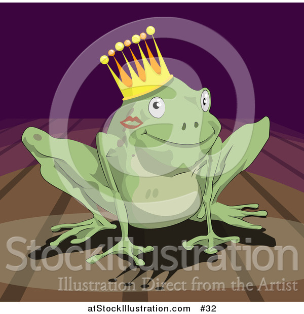 Illustration of a Frog Prince Wearing a Crown