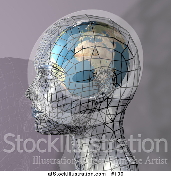 Illustration of a Futuristic Human Head in Profile with a Globe Inside the Brain