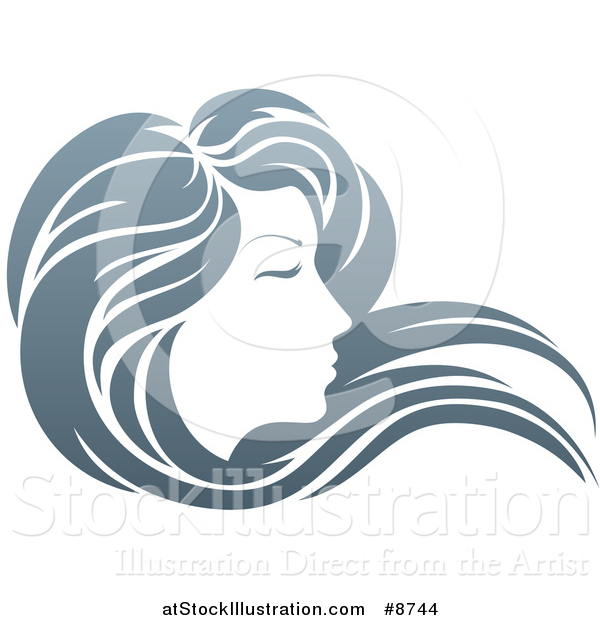 Illustration of a Gradient Beatiful Woman's Face in Profile, with Long Hair Waving in the Wind