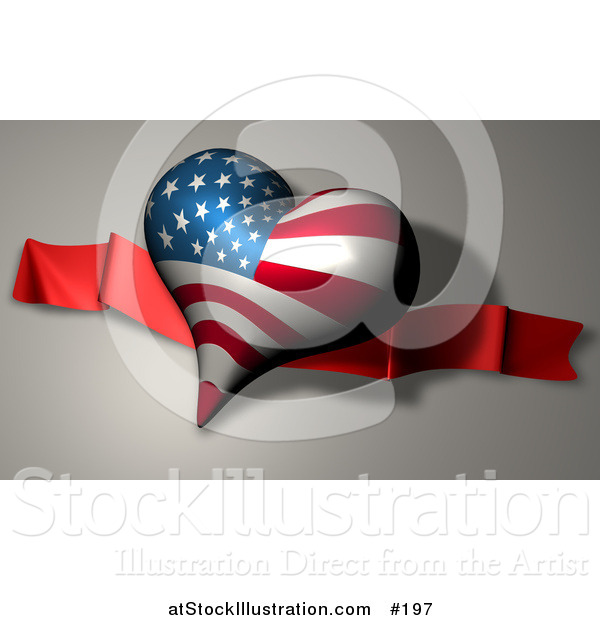 Illustration of a Heart with American Stars and Stripes on a Banner