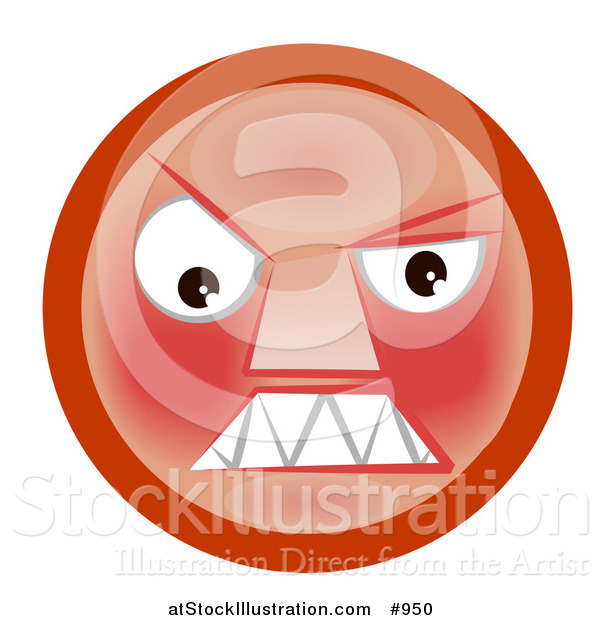 Illustration of a Hostile Smiley Clenching Its Teeth