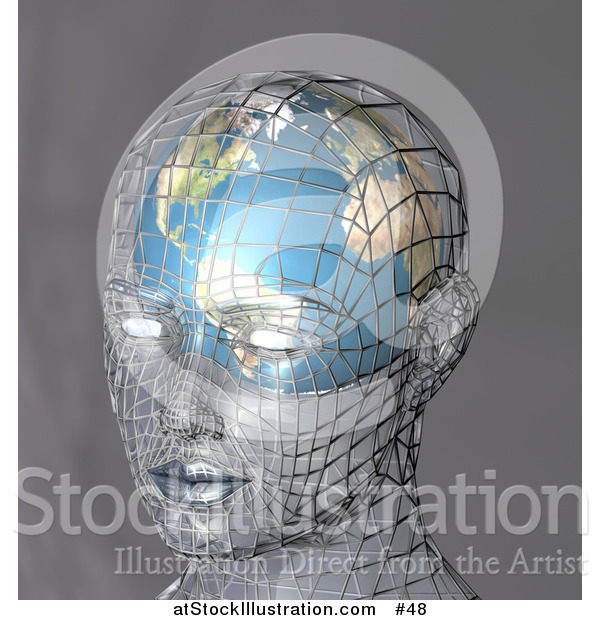 Illustration of a Human Head with a Globe Inside the Brain