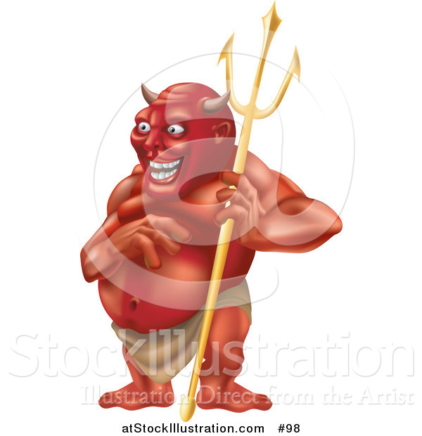 Illustration of a Laughing Horned Devil Holding a Pitchfork