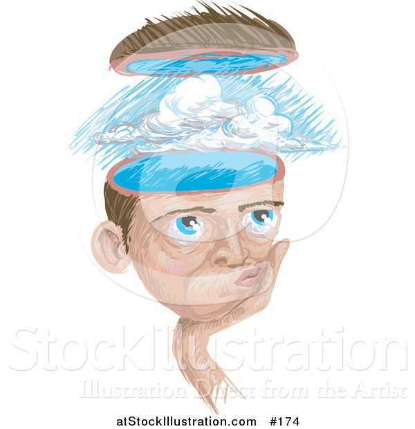 Illustration of a Man with a Storm in His Head