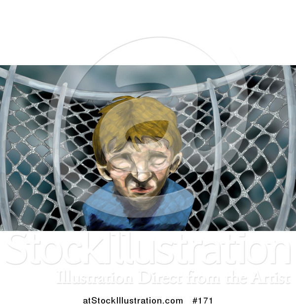 Illustration of a Miserable Boy by a Chainlink Fence on a Playground on a Stormy Day