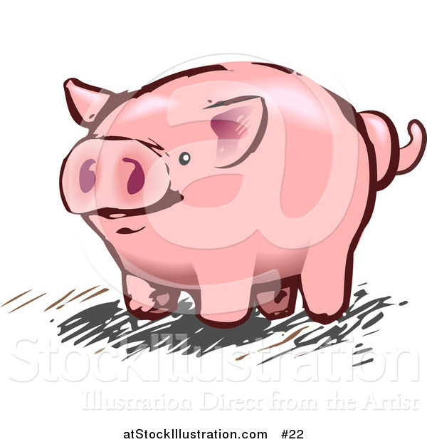 Illustration of a Pink Pig with a Curly Tail