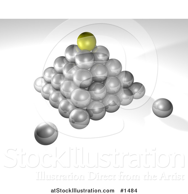 Illustration of a Pyramid of Silver Balls, on a Gray and White Background, Symbolizing Success, Leadership and Management