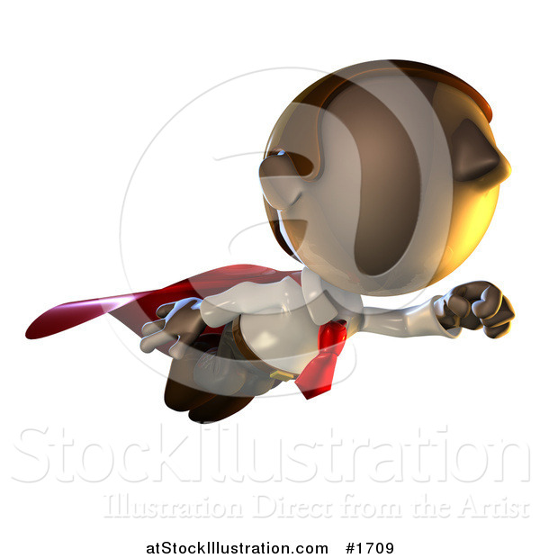 Illustration of a Super Hero Pete Man Character Flying