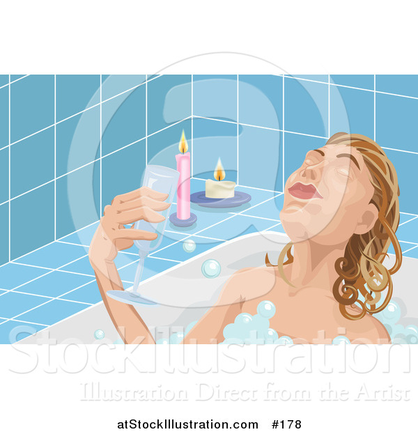 Illustration of a Woman Taking Time to Unwind at the End of Her Day, Soaking in a Relaxing Bubble Bath and Drinking Wine by Candlelight