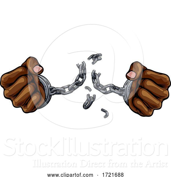 Illustration of Hands Breaking Chain Shackles Cuffs Freedom Design