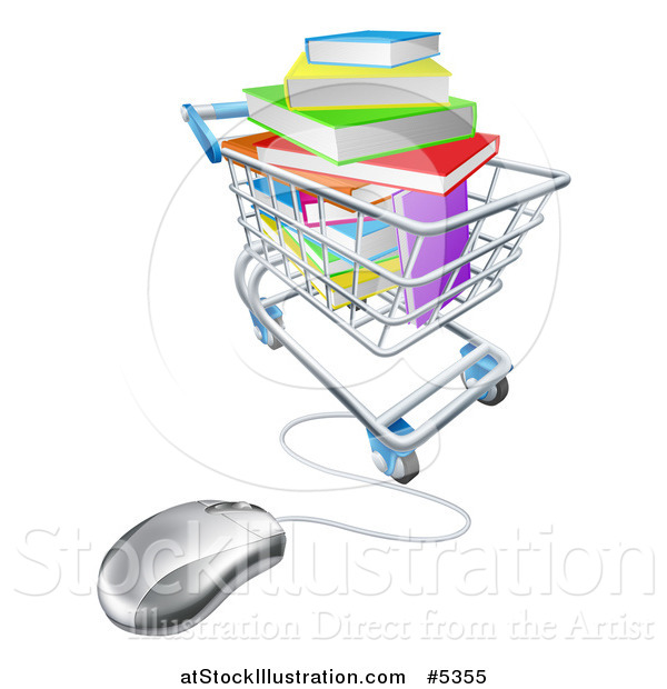 Vector Illustration of 3d Books Piled in a Shopping Cart Wired to a Computer Mouse