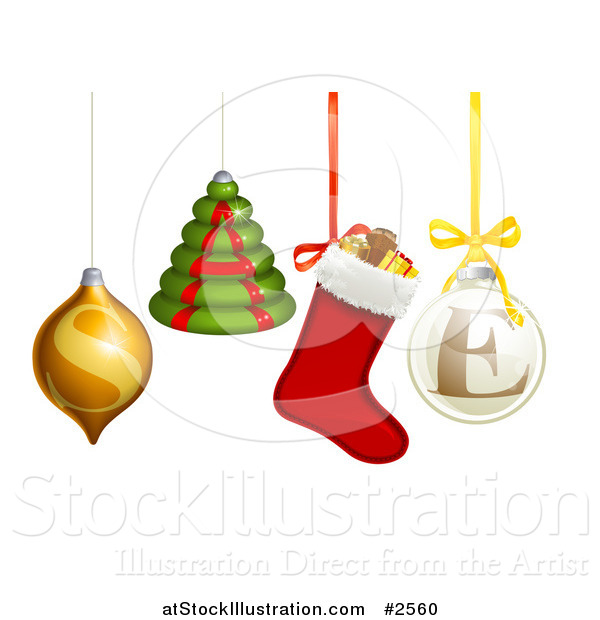 Vector Illustration of 3d Christmas Baubles and Ornaments Spelling SALE