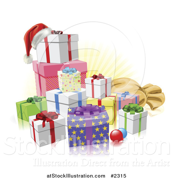 Vector Illustration of 3d Christmas Gifts with a Santa Hat Baubles and Sack