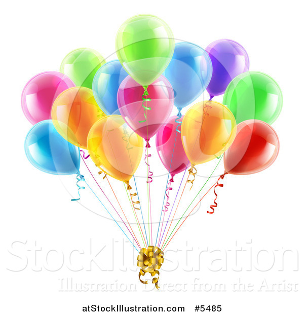 Vector Illustration of 3d Colorful Party Balloons with a Gift Bow