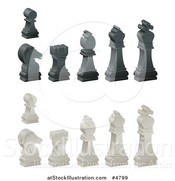 Vector Illustration of 3d Ebony and Ivory Chess Pieces