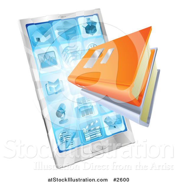 Vector Illustration of 3d Ebooks Emerging from a Smart Phone