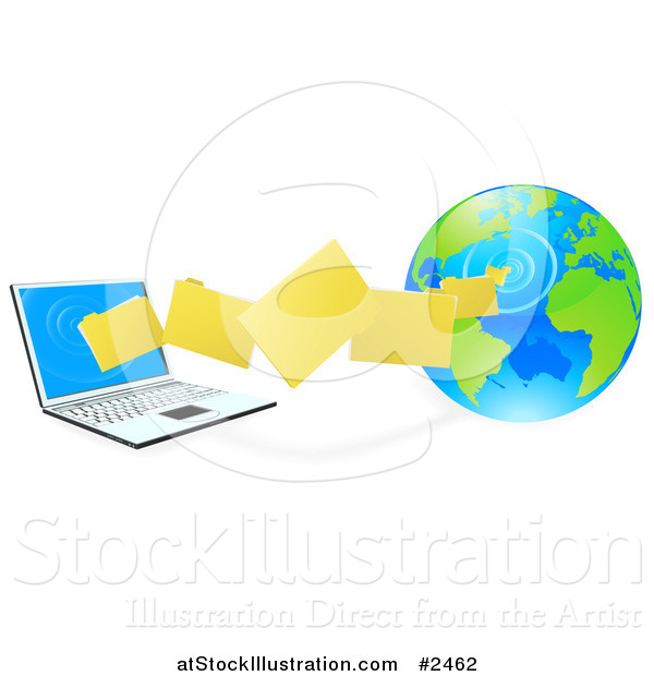 Vector Illustration of 3d Files Transfering from a Globe to a Laptop Computer