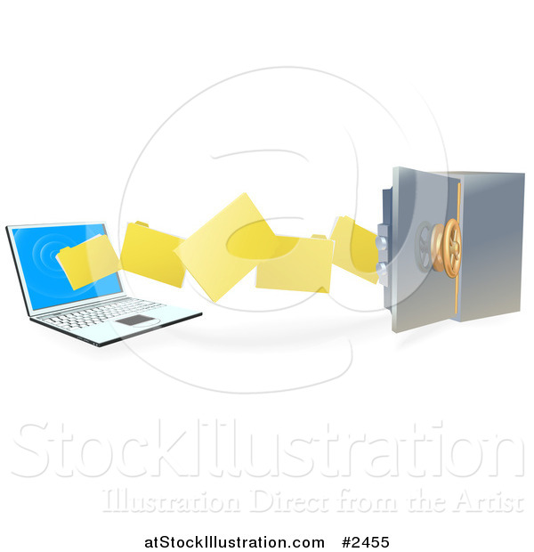 Vector Illustration of 3d Files Transferring to a Laptop to a Secure Safe