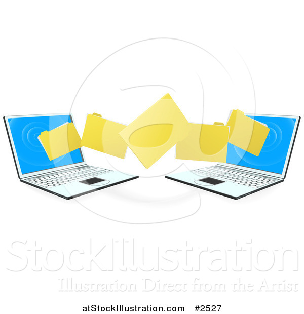 Vector Illustration of 3d Folders Transferring from One Laptop to the Other