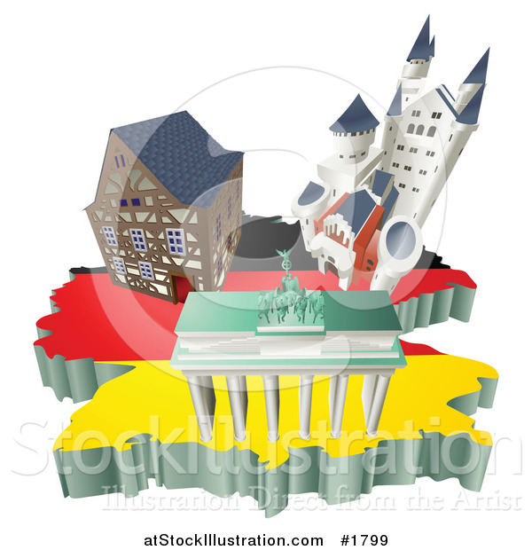 Vector Illustration of 3d German Tourist Attractions over a Flag Map of Germany