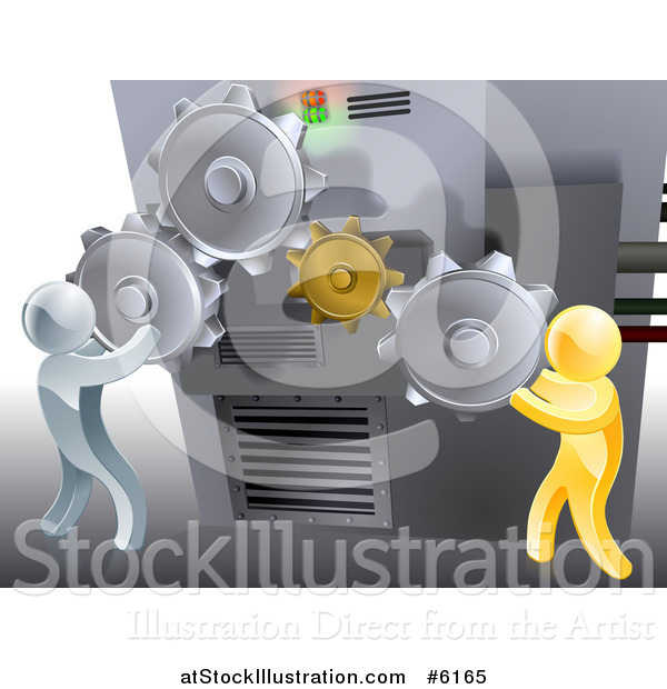 Vector Illustration of 3d Gold and Silver Men Adjusting Gear Cogs on a Machine
