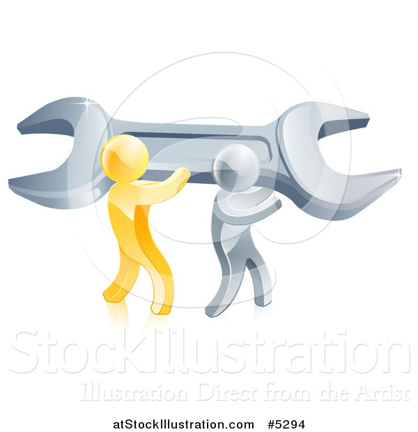 Vector Illustration of 3d Gold and Silver Men Carrying a Giant Adjustable Wrench