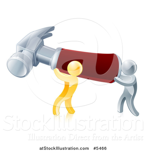 Vector Illustration of 3d Gold and Silver Men Carrying a Giant Hammer