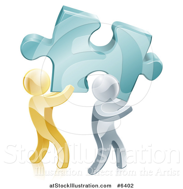 Vector Illustration of 3d Gold and Silver Men Carrying a Large Turquoise Solution Puzzle Piece