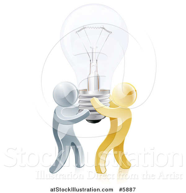 Vector Illustration of 3d Gold and Silver Men Carrying a Light Bulb