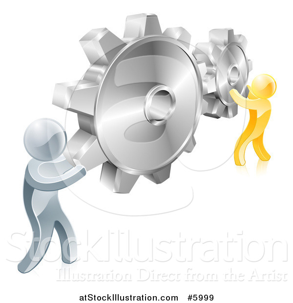 Vector Illustration of 3d Gold and Silver Men Connecting Two Giant Gear Cogs