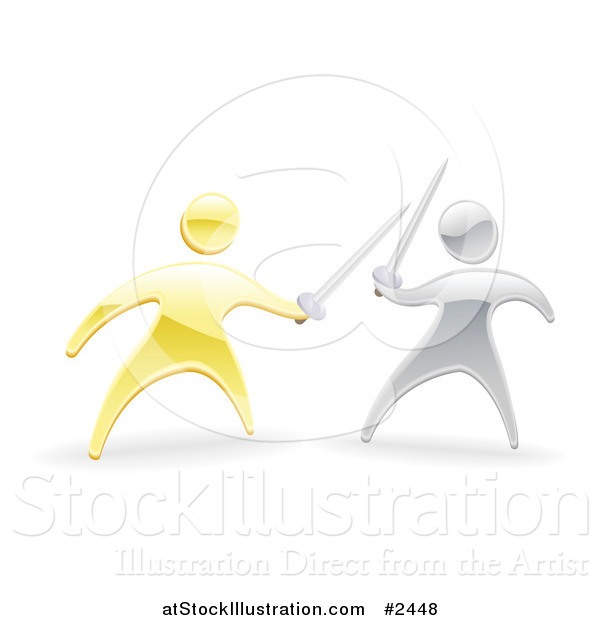 Vector Illustration of 3d Gold and Silver Men Fencing with Swords