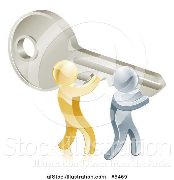 Vector Illustration of 3d Gold and Silver Men Holding up a Giant Key
