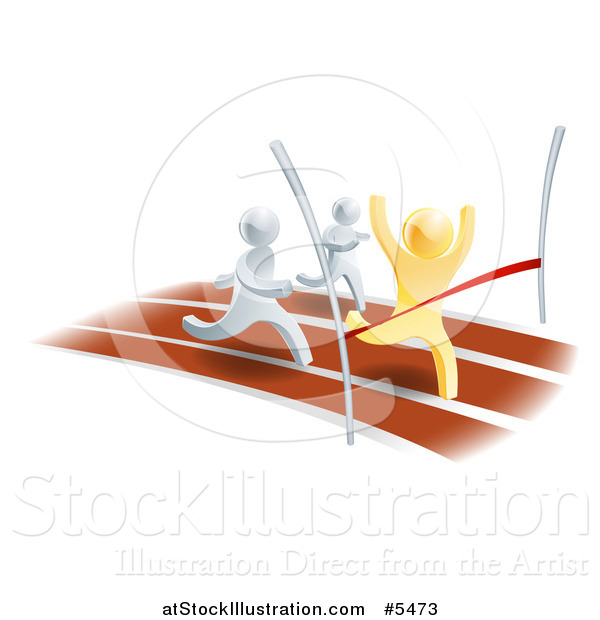 Vector Illustration of 3d Gold and Silver Men Racing on a Track