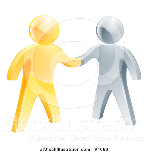 Vector Illustration of 3d Gold and Silver Men Shaking Hands