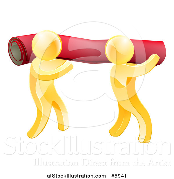 Vector Illustration of 3d Gold Carpet Installers Carrying a Roll