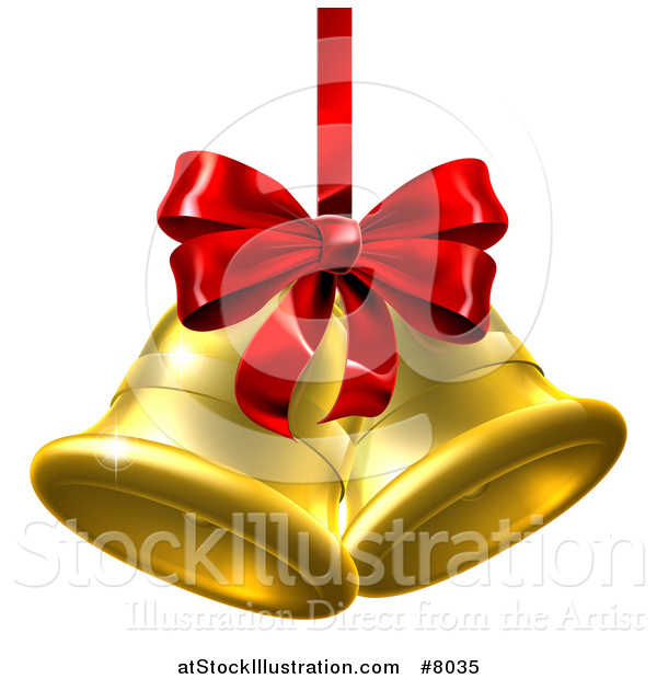 Vector Illustration of 3d Gold Christmas Bells with a Red Ribbon and Bow