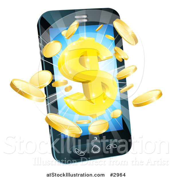 Vector Illustration of 3d Gold Coins and Dollar Symbol Bursting from a Smart Phone
