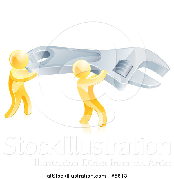 Vector Illustration of 3d Gold Men Carrying a Giant Spanner Wrench