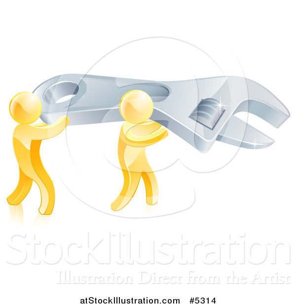 Vector Illustration of 3d Gold Men Carrying a Huge Spanner Wrench