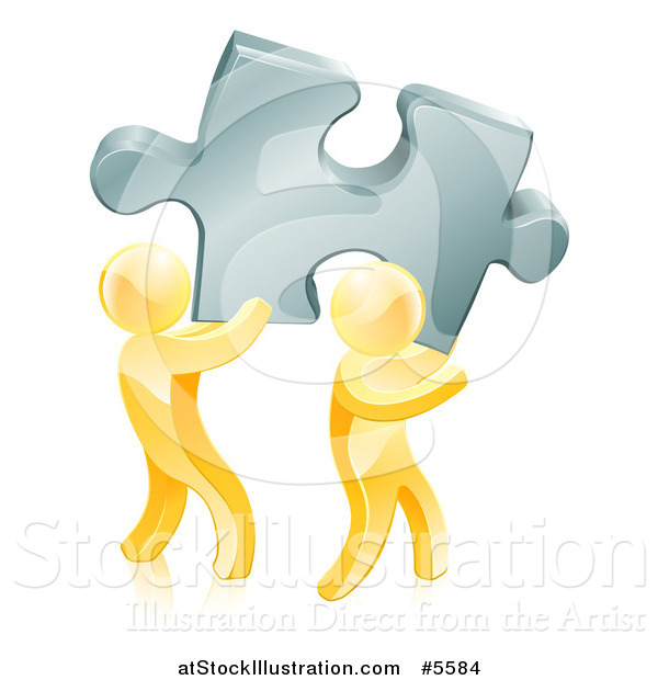 Vector Illustration of 3d Gold Men Carrying a Large Solution Puzzle Piece