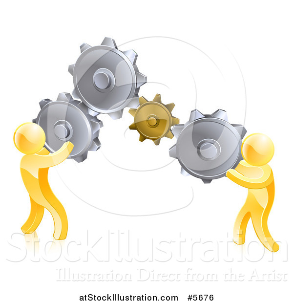Vector Illustration of 3d Gold Men Connecting Two Giant Gear Cogs