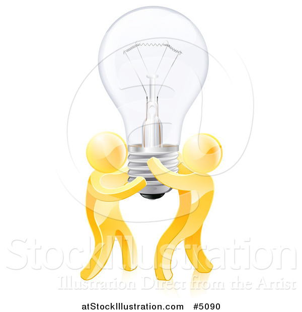Vector Illustration of 3d Gold Men Holding up a Lightbulb