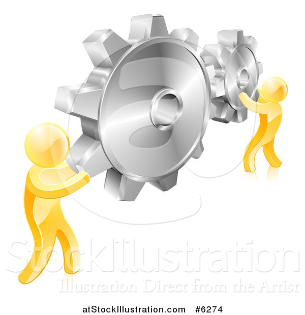 Vector Illustration of 3d Gold Men Holding up Gold Gear Cogs