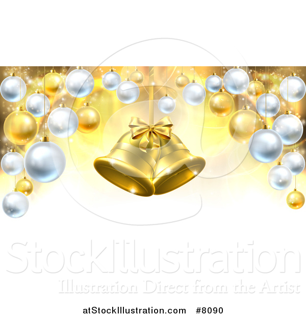 Vector Illustration of 3d Golden Christmas Bells Suspended over a Background with Baubles