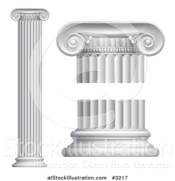 Vector Illustration of 3d Greek or Roman Columns