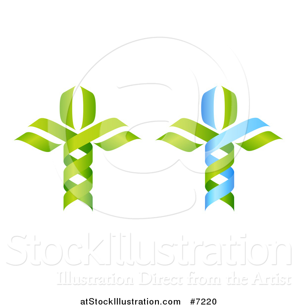 Vector Illustration of 3d Green and Blue DNA Double Helix Trees