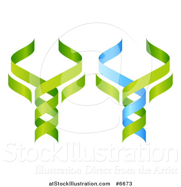Vector Illustration of 3d Green and Blue DNA Double Helix Trees Shaped like Caduceuses