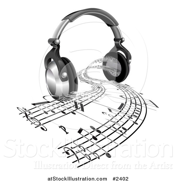 Vector Illustration of 3d Headphones with Sheet Music Streaming from Speakers