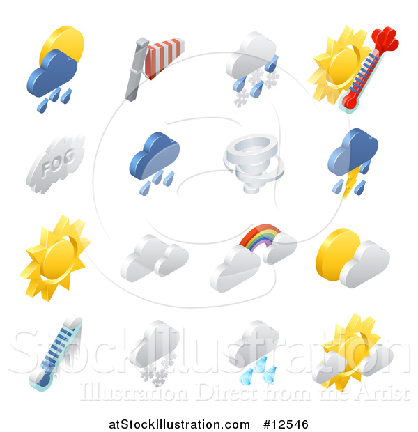 Vector Illustration of 3d Isometric Weather Forecast Icons