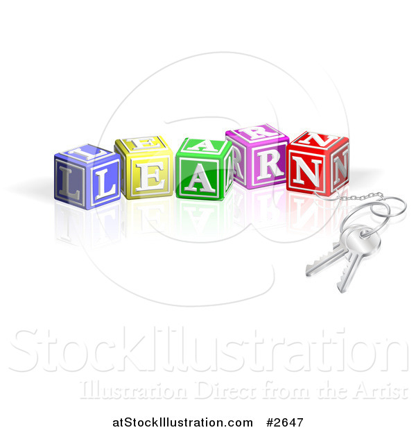 Vector Illustration of 3d Keys Attached to LEARN Letter Blocks